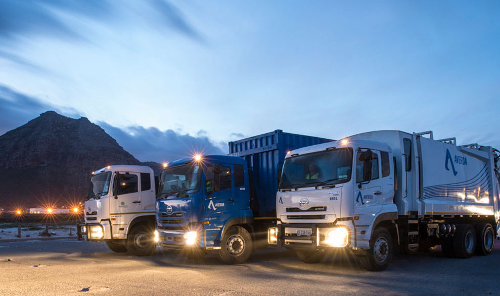 Averda Waste Truck Fleet Night Time