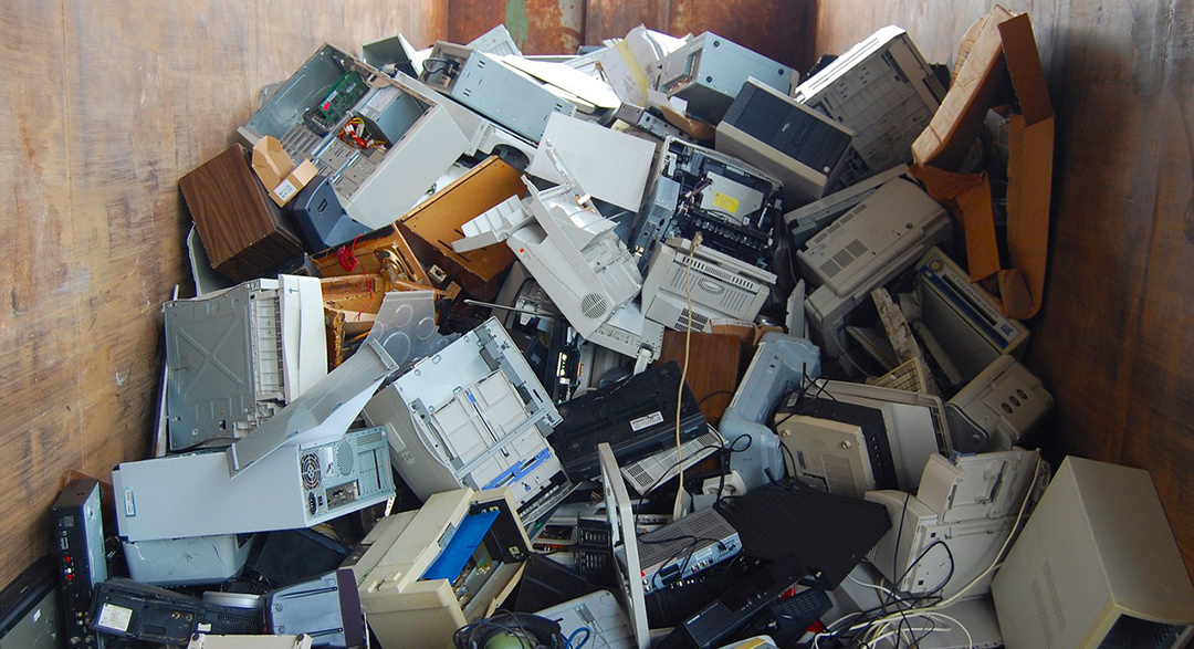 Discarded old computers and laptops