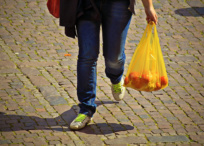 Person carrying plastic bag with groceries inside
