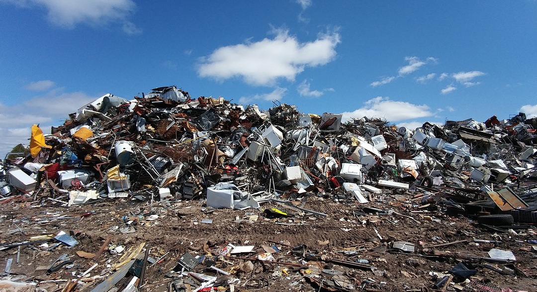 Scrap metal in a landfill