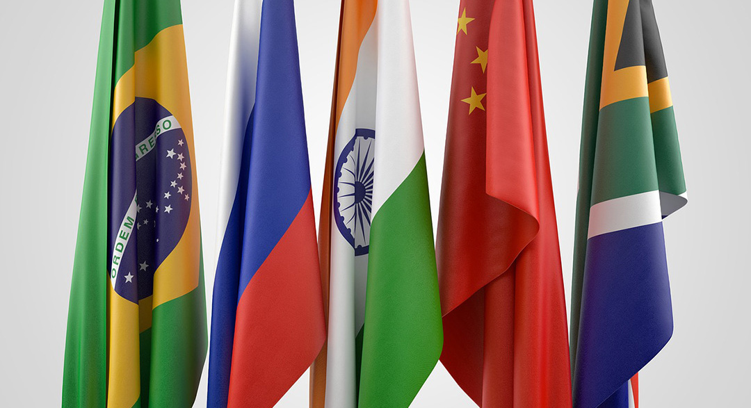 Flags of Brazil, Russia, India, China and South Africa