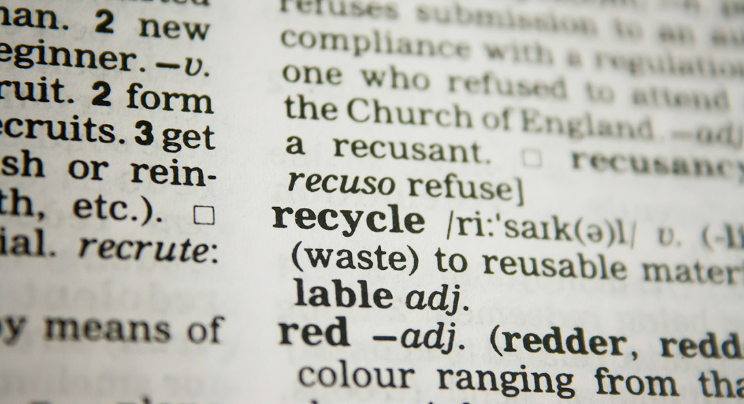 the word recycle in a dictionary