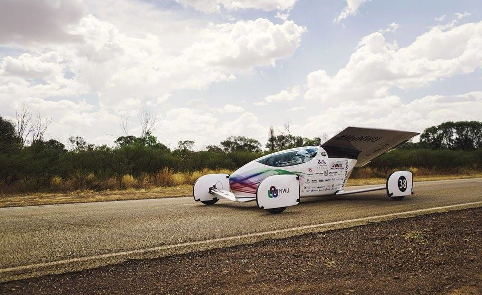 NWU solar car during the Sasol Solar Challenge