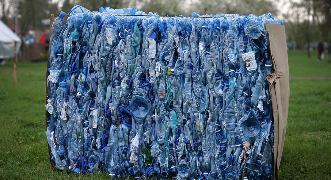 Recycling PET plastic water bottles