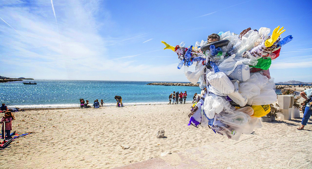 Beach scarecrow made of plastic waste