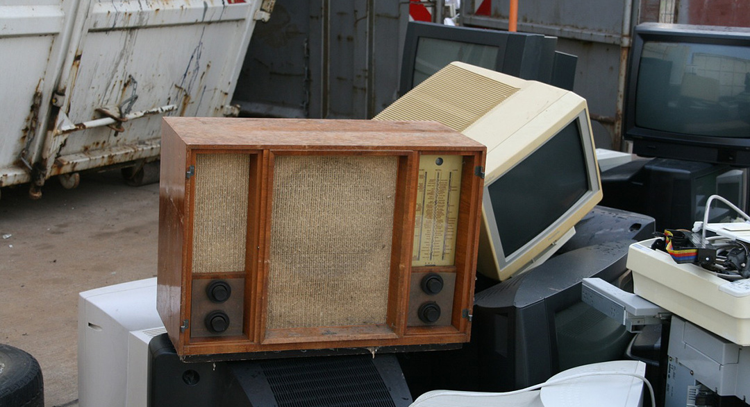 E-waste in the form of old computer screens and radio speakers