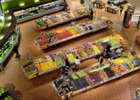 Aerial view of supermarket interior