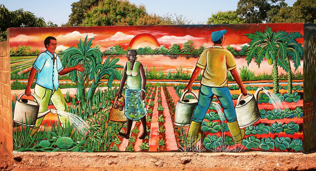 Mural wall painting of African agriculture