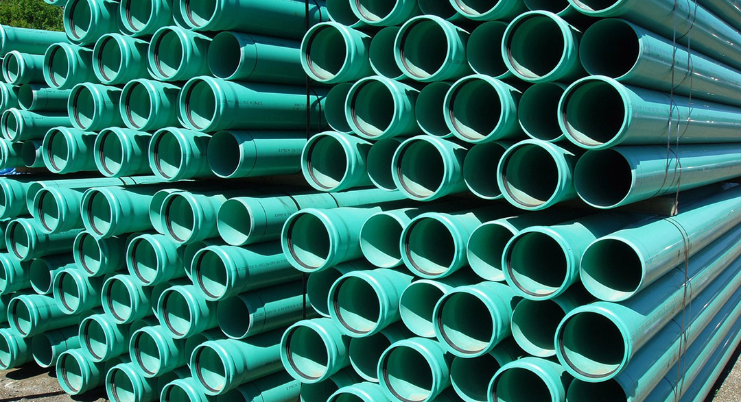 Plastic piping tubes in a stack
