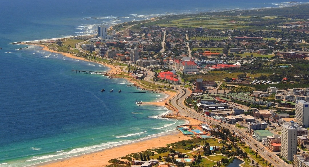 Port Elizabeth beachfront in South Africa