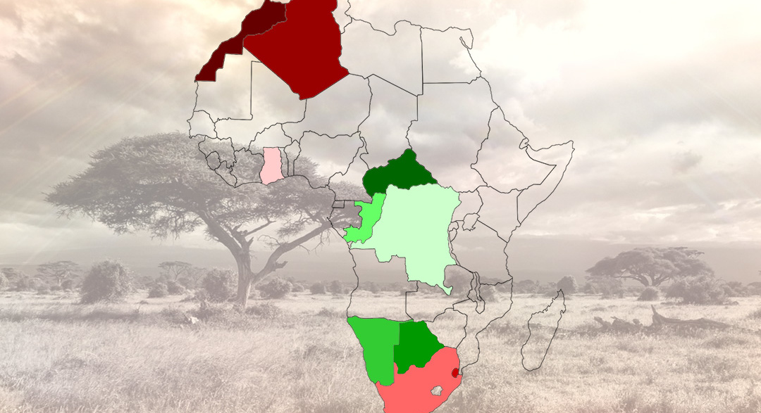 Map of Africa depicting states of environments