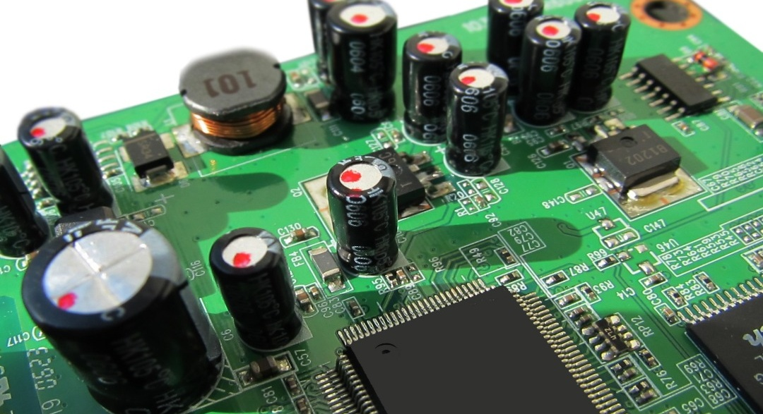 E-waste computer motherboard