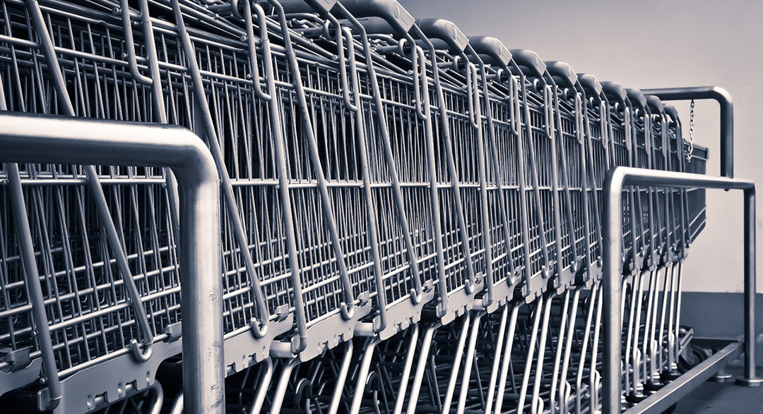 Retail shopping trolleys in a line