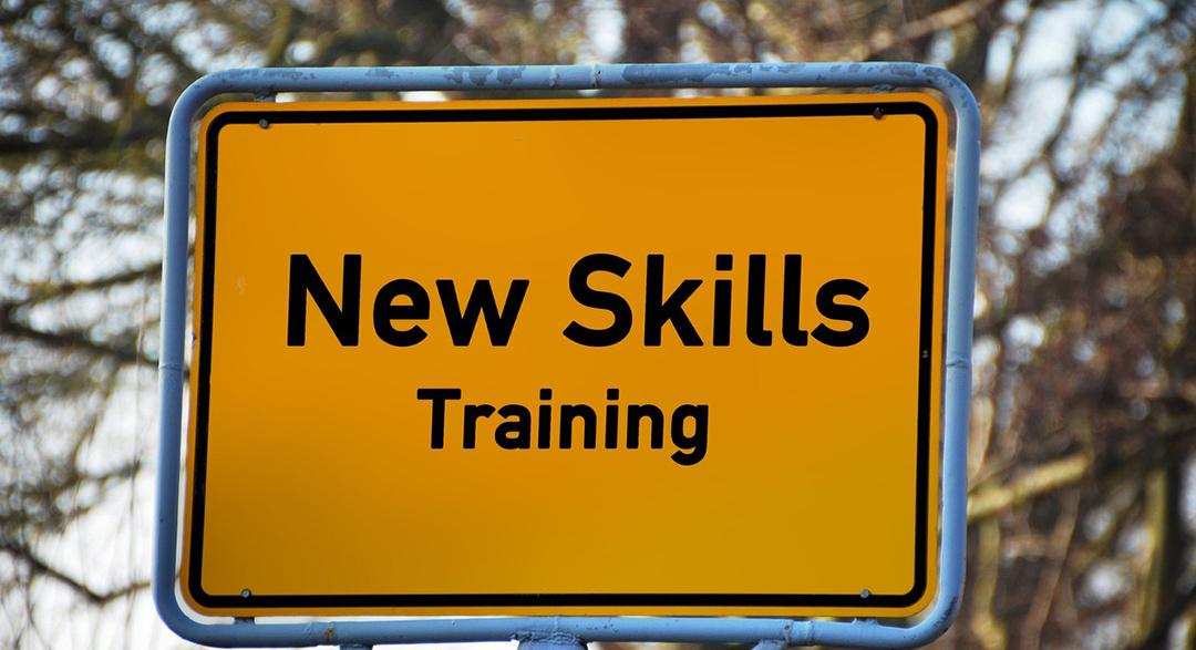 Skills training sign in the woods