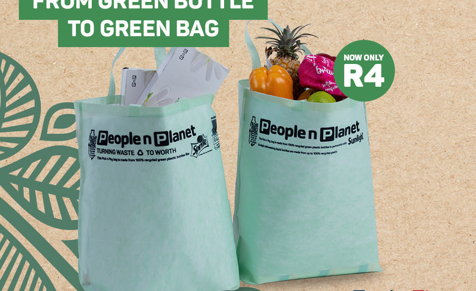The new Pick n Pay shopping bags made from recycled bottles